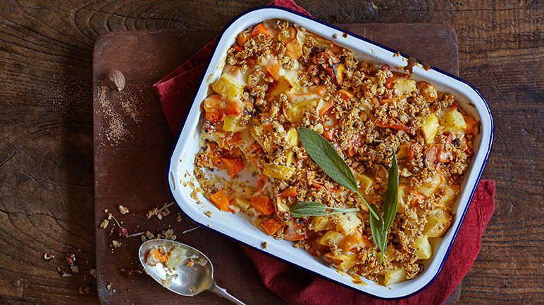 Glutenfree roast vegetable and hazelnut crumble recipe