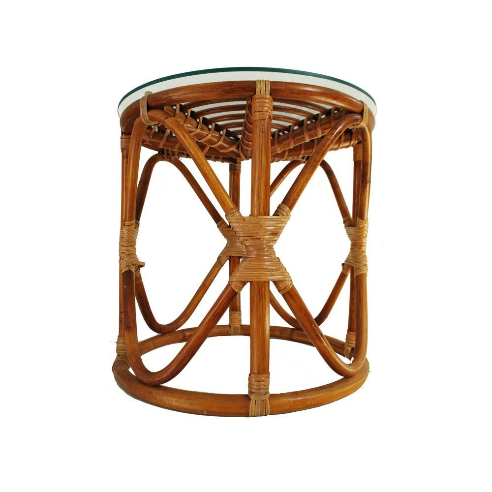 Vintage Rattan Table / Bohemian Wicker Glass Top Table / Bamboo Side Table.  $65.00,