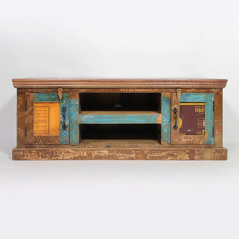 Meuble TV en bois coloré recyclé - Petit modèle Salons