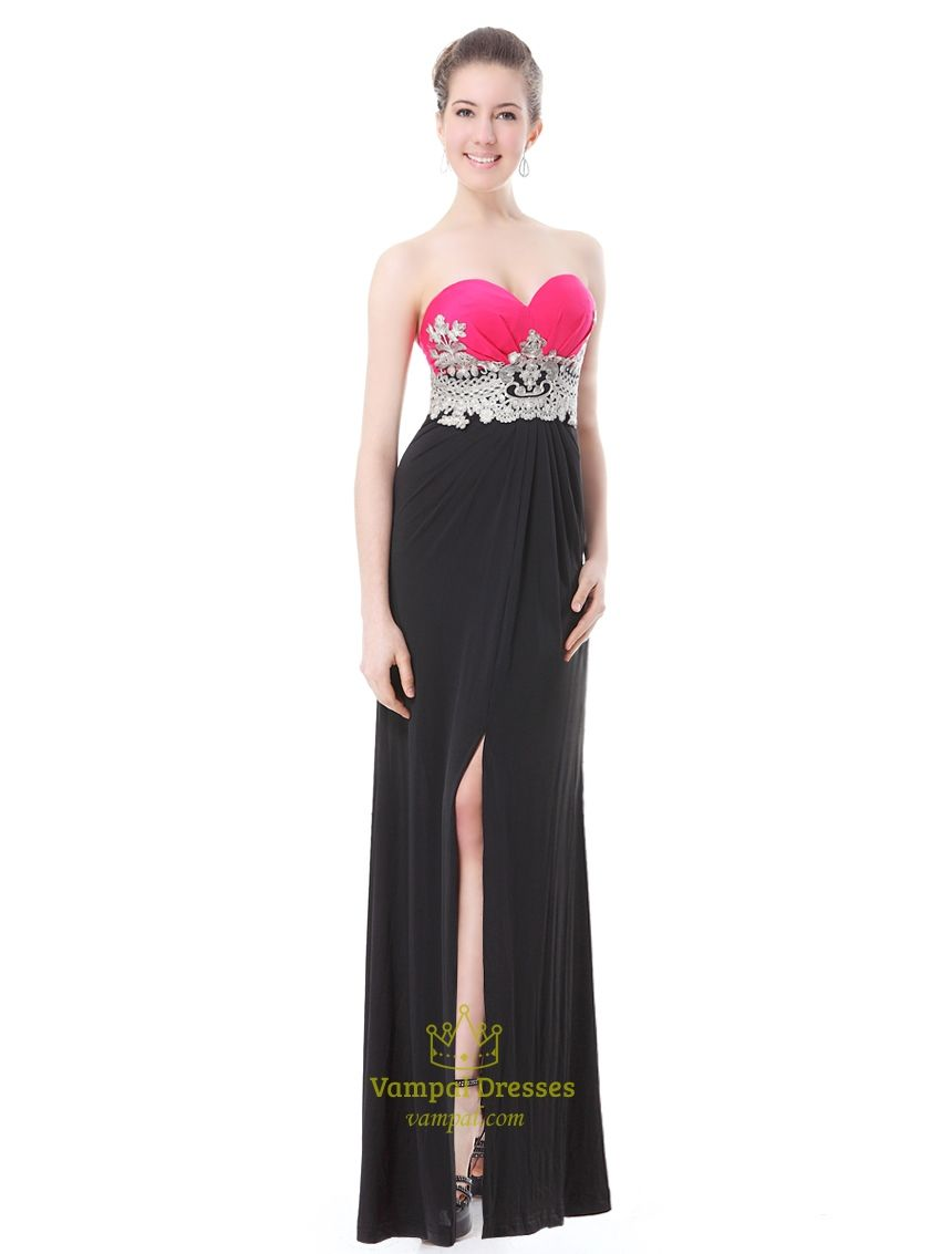 60ac7c5127 Black And Hot Pink Prom Dresses,Pink Top Black Bottom Dress,Pink And Black  Dresses For Juniors