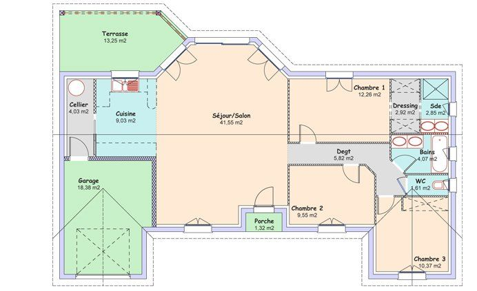 La maison Espace  104,06 m² - Constructeur maisons MCA - 1er - plan de maison de 100m2 plein pied