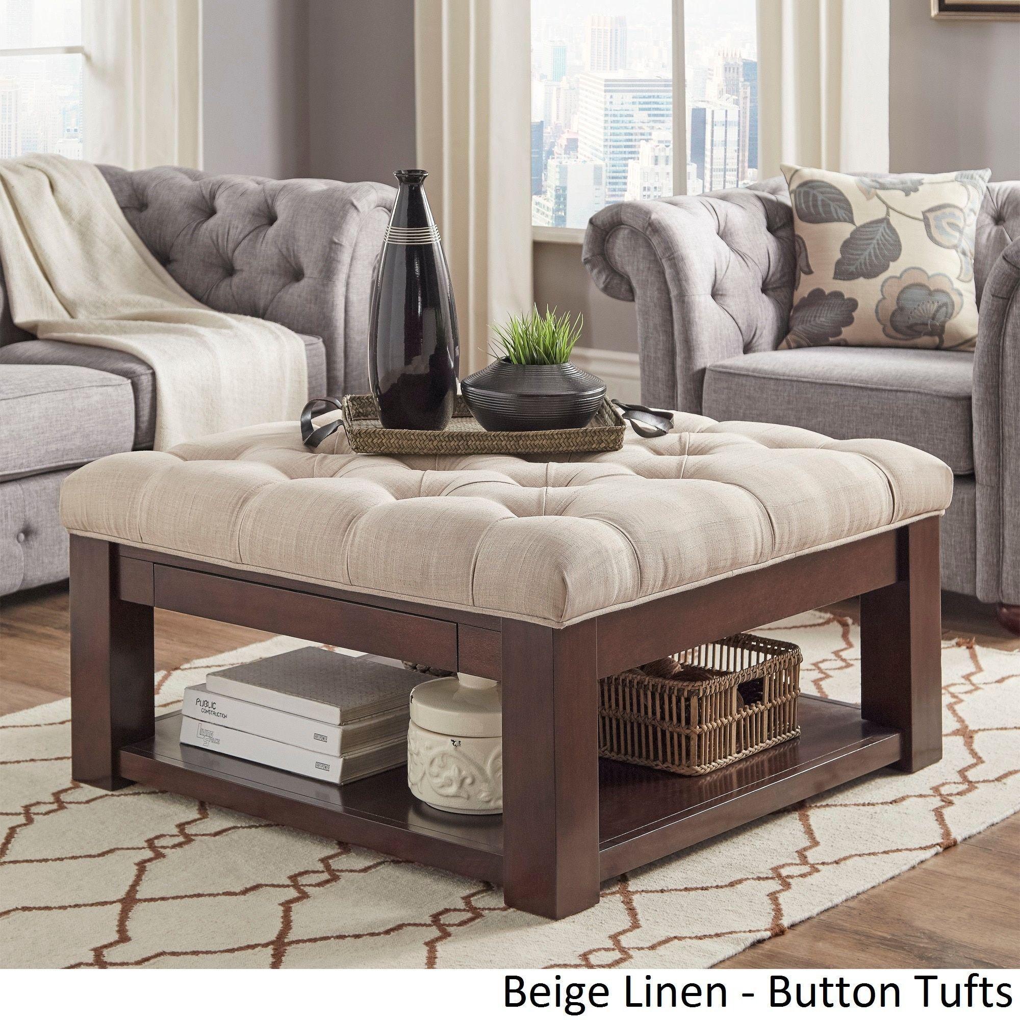 Lennon Espresso Square Storage Ottoman Coffee Table By Inspire Q Clic Beige Linen On Tufts Fabric