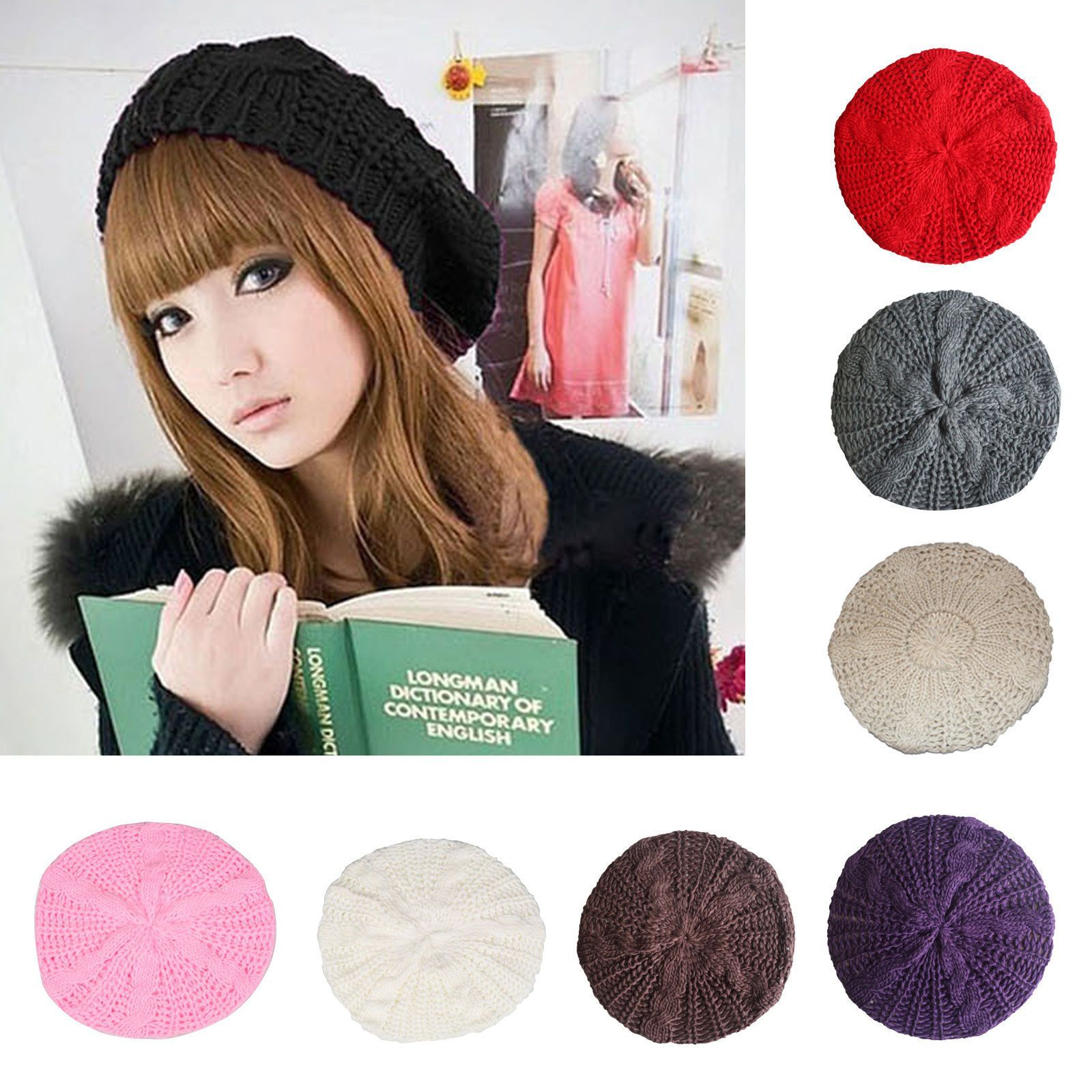 fcdc4b21d5a Fashion Womens Winter Knit Crochet Ski Hat Braided Beret Beanie Cap Autumn  Girl