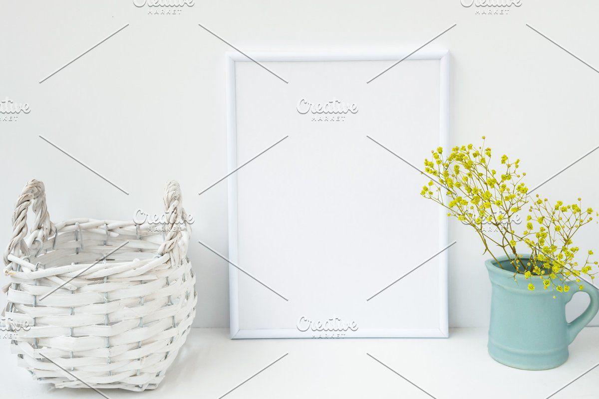 Photo of White frame mockup basket flowers #Sponsored , #PAID, #flowers#pitcher#backgroun…