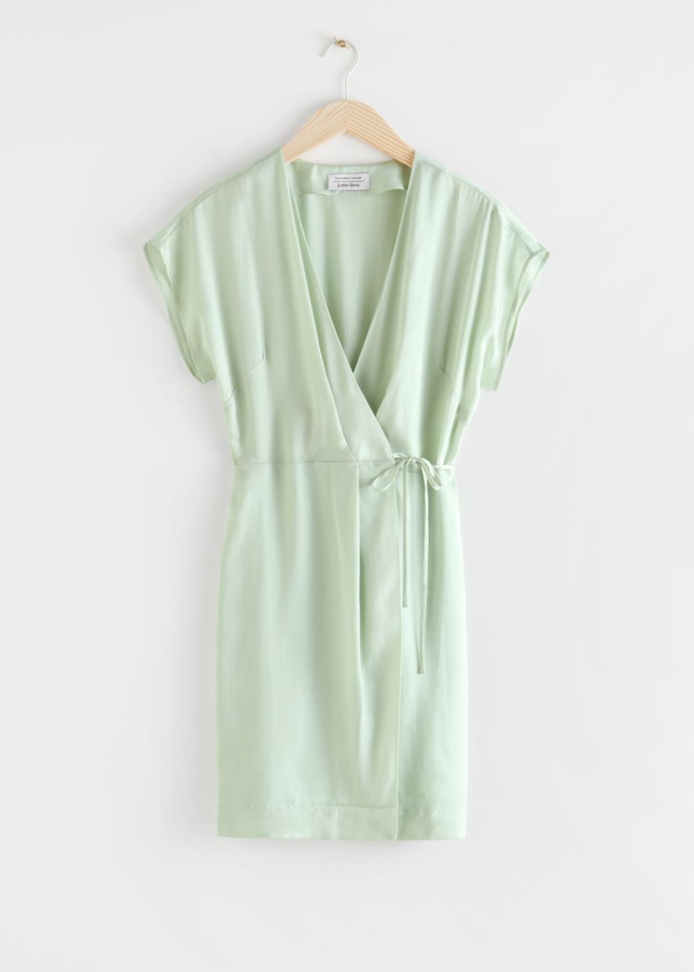Sleeveless Wrap Dress Light Green Mini Dresses Other Stories In 2020 Sleeveless Wrap Dress Wrap Dress Green Mini Dress