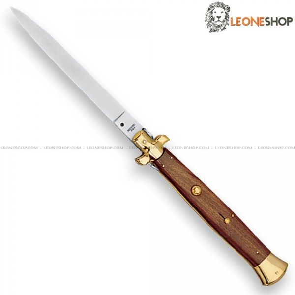 "FOX KNIVES Italian Stiletto Switchblade Knife 250/33PO (Sale On Line Prohibited - only exhibition) automatic knives with blade of 420 stainless steel of high quality mirror polished - HRC 54/56 - Overall lenght 13"" - Brass bolsters - Rosewood handle a precious wood hard, durable, reasonably high porosity and brown with blackish streaks ​​- Equipped with safety lock in the handle - FOX KNIVES Italian Stiletto Automatic Switchblade Knife really exceptional with quality materials...."