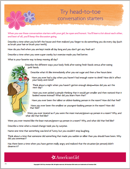 Conversation Starters For Your Daughter American Girl Printable