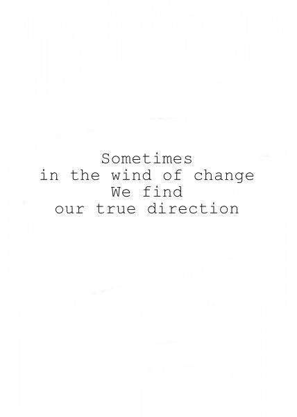 Sometimes in the wind of change we find our true direction.