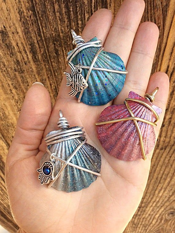 Photo of Painted seashell necklace with hamsa charm, beach necklace, mermaid necklace, wire wrapped shell pendant, beach jewelry, nautical jewelry