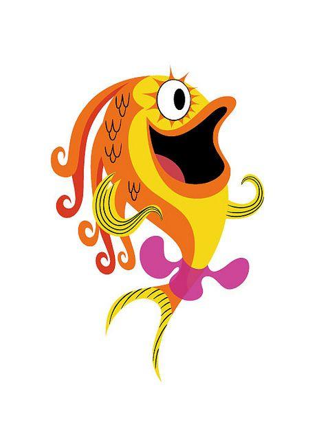 Прикольные рыбки рисунки, открытку новый год