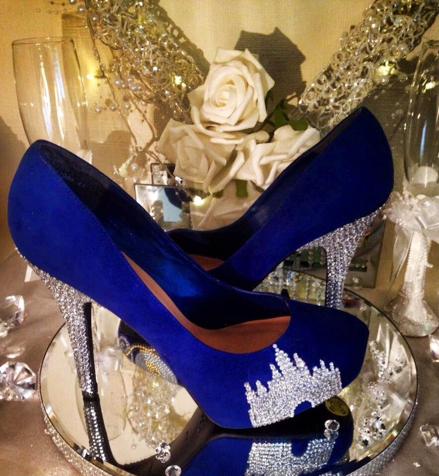 Blue Wedding Shoes Crystal Castle Shoes Bridal Prom Party