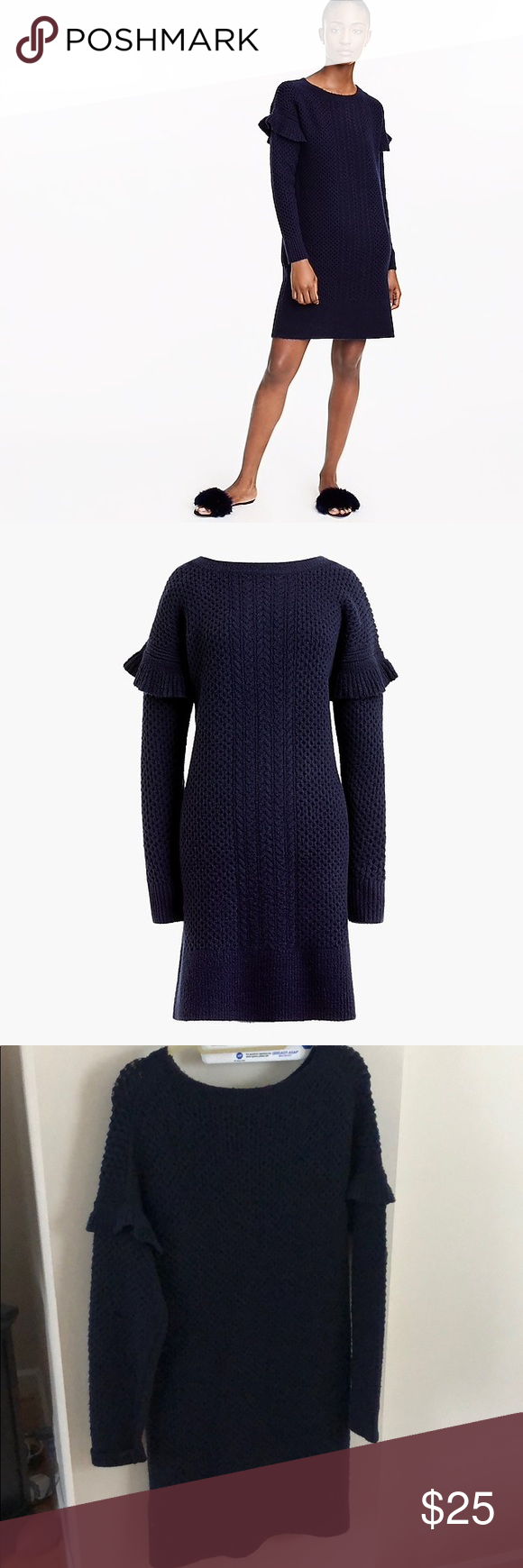 4d745af91eb 🔥J. Crew Ruffle Sleeve Sweater Dress NWT Dark navy cable knit ...