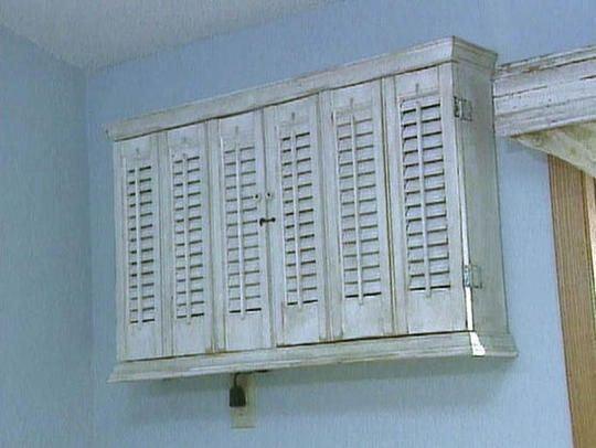 Cover An Ac With A Cabinet If It Has Slatted Doors Can Even Be Left Open While It Shabby Chic Living Room Design Wall Air Conditioner Air Conditioner Cover