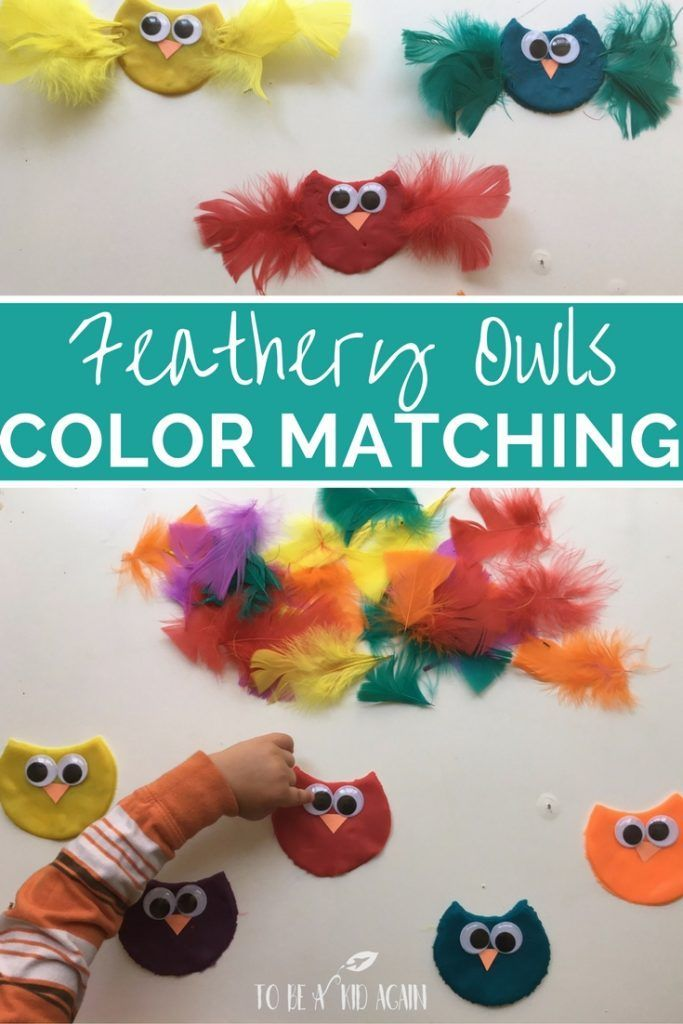 Feather owls color matching activity for kids to go along with the book owl babies by Martin Waddell. Match feathers to play dough owls with this fine motor color sort activity for toddlers and preschoolers