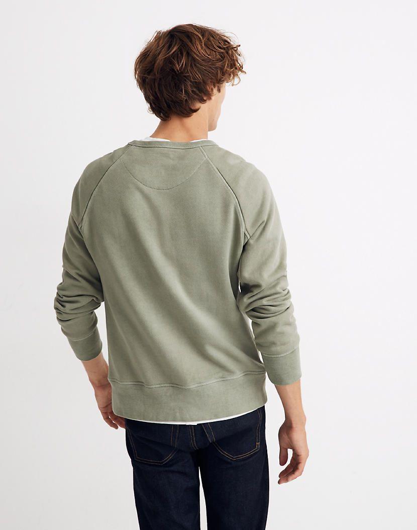 Men S Garment Dyed Crewneck Sweatshirt In 2021 Long Sleeve Tshirt Men Crew Neck Sweatshirt Garment Dye [ 1054 x 830 Pixel ]