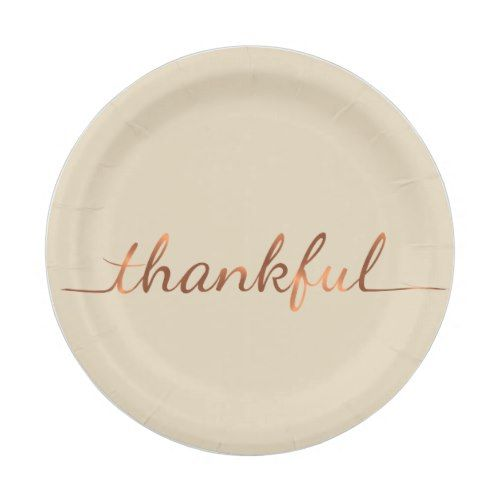 Copper-look Thankful Thanksgiving paper plate  sc 1 st  Pinterest & Copper-look Thankful Thanksgiving paper plate | Thanksgiving Dinner ...