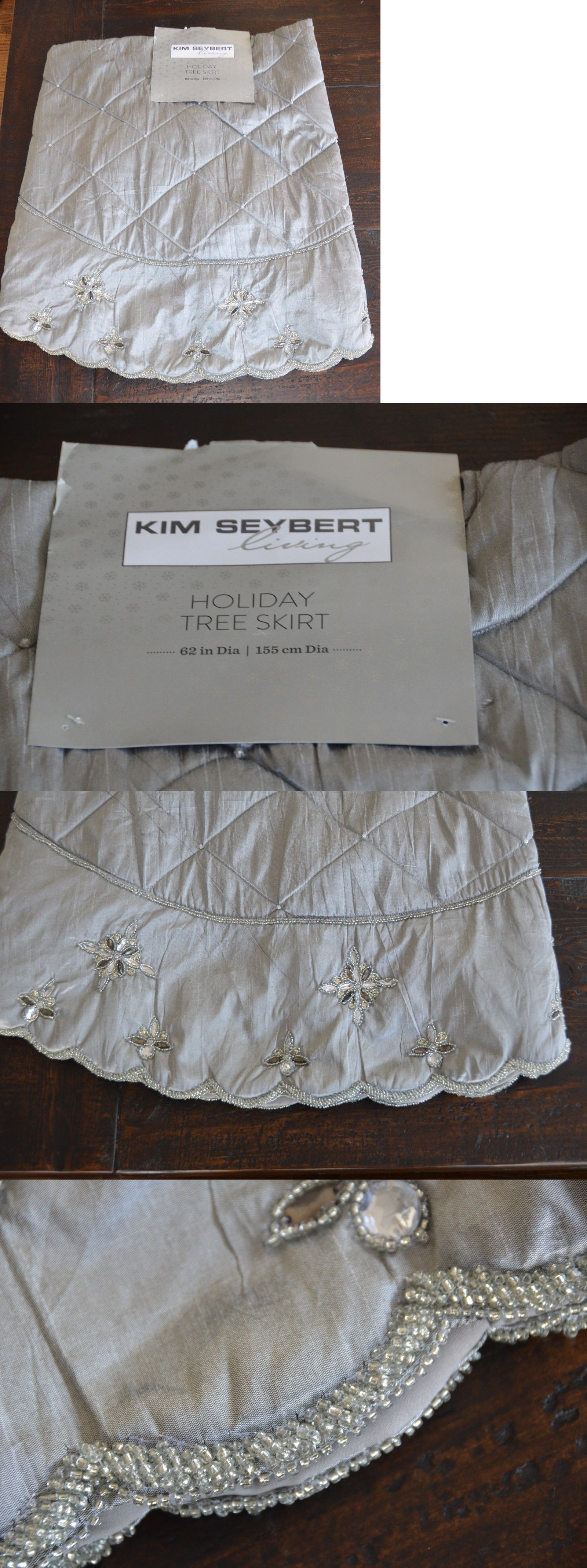 Tree Stands Skirts And Storage 166726 Lovely Neiman Marcus Kim Seybert Christmas Silver Gray Quilted