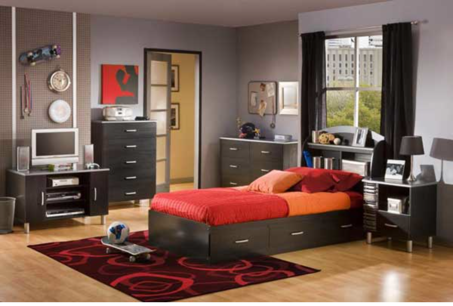 Best Brown Gray Orange And Red T**N Boy S Room Boys 640 x 480