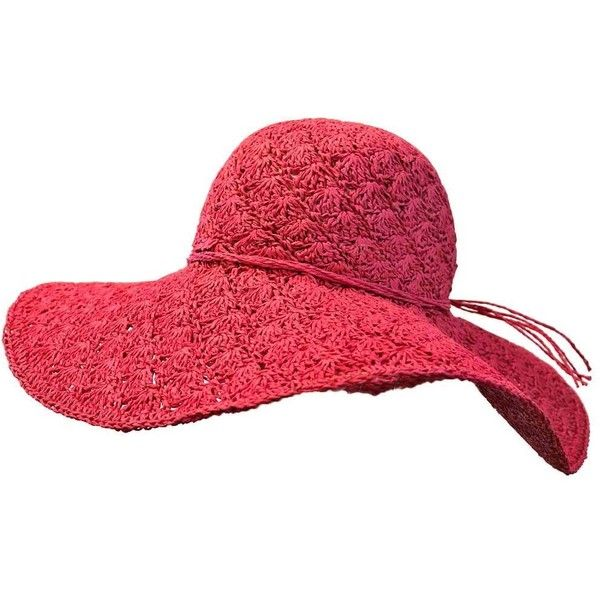 397641f7857 Fuchsia Pink Lacey Toyo Wide Brim Floppy Hat (£20) ❤ liked on Polyvore  featuring accessories