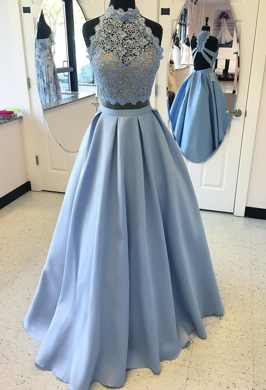 Two Piece Blue High Neck Open Back Prom Dress with Lace Beading