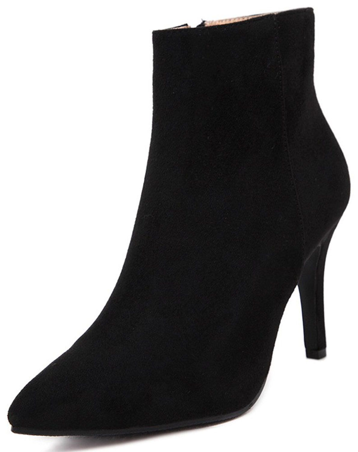 Women's Sexy Pointed Toe Side Zipper Booties Stiletto High Heel Frosted Ankle Boots