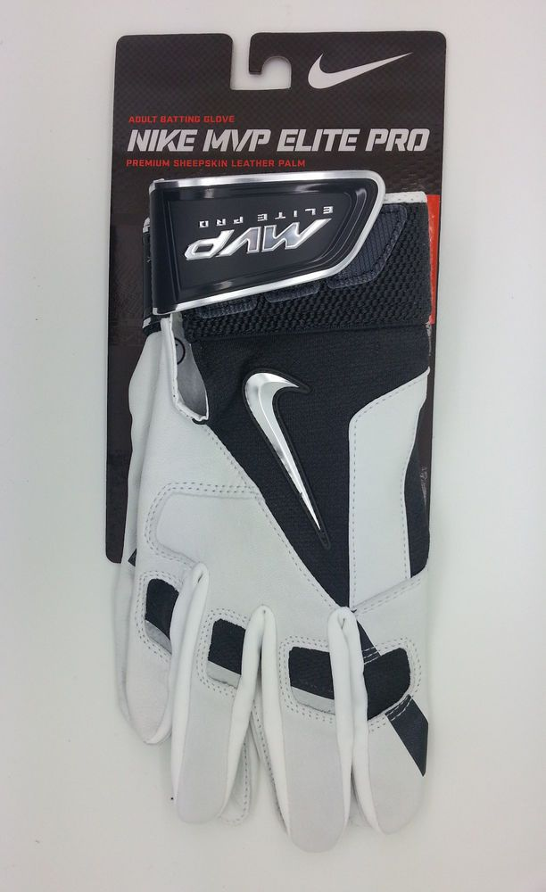 NIKE MVP ELITE PRO GRAY/WHITE ADULT BATTING GLOVE (ADULT LARGE) -- NEW #Nike