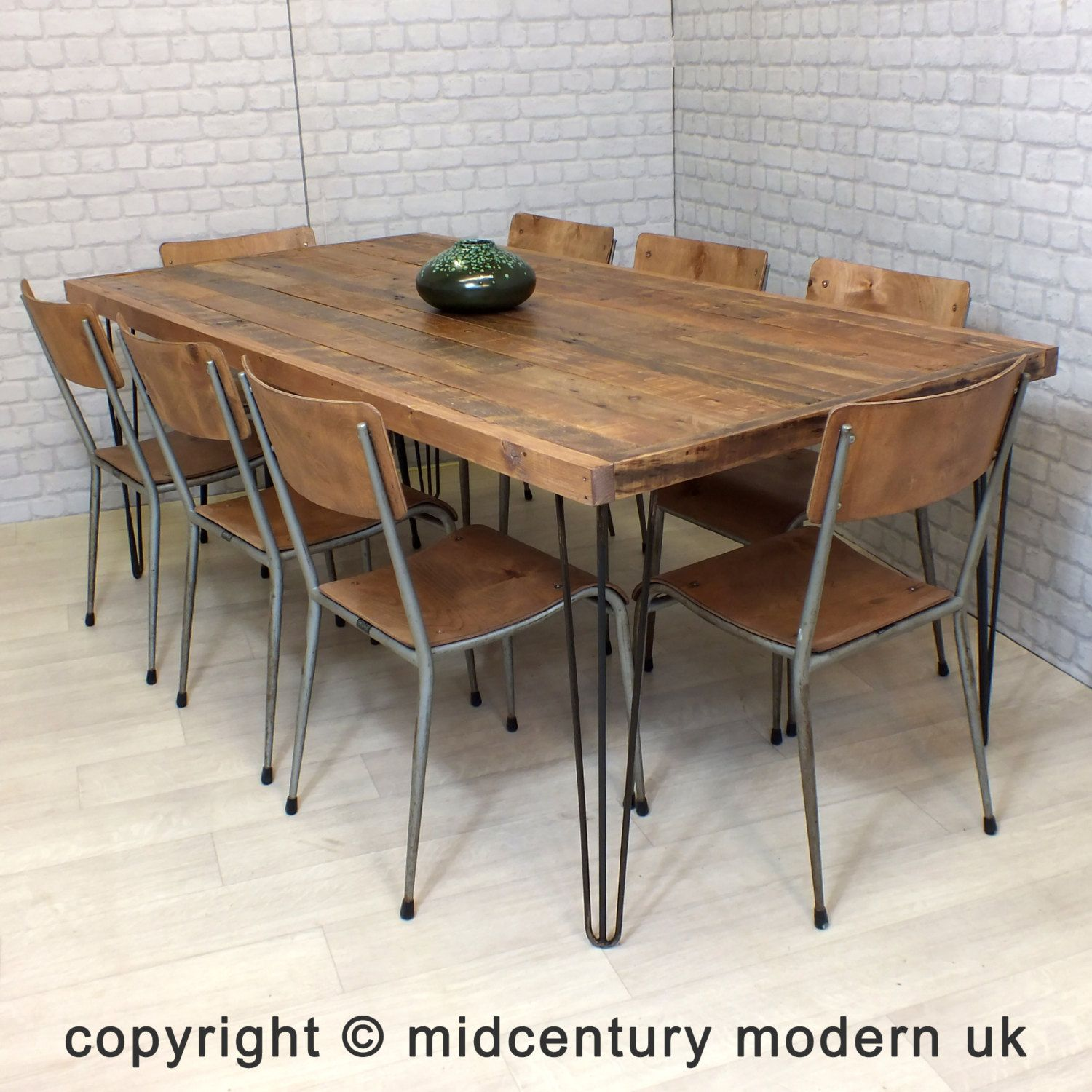 Reclaimed kitchen table  Hairpin Legs Vintage Industrial Reclaimed Timber Mid Century Farm