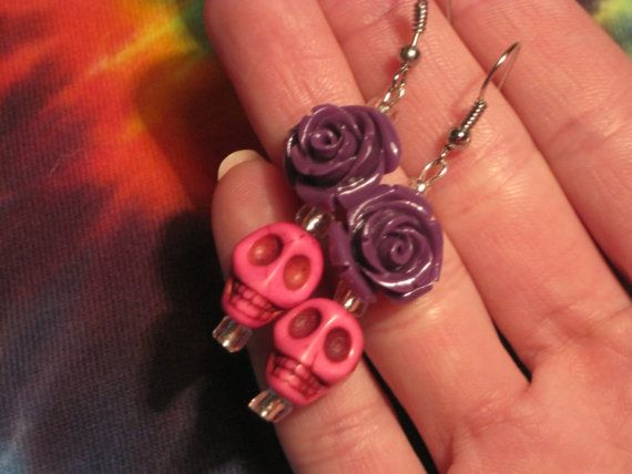 Day of the Dead Pink Skull with Purple Roses by UniqueHempDesigns