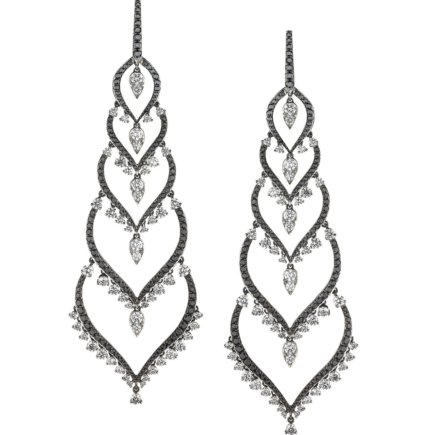 RUSSIA EARRINGS Couture Voyage 18k white gold, black and white diamonds