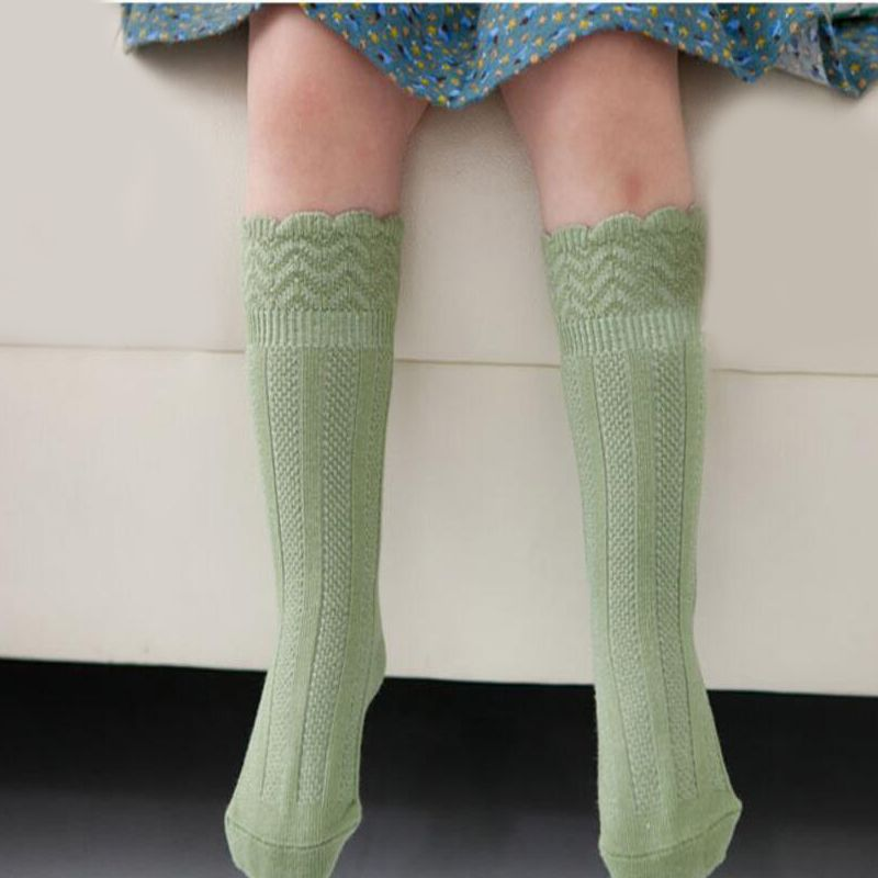 d68078c5c53 Kid Girls Socks Children s Knee High Socks with Lace Wave design Baby Leg  Warmers Cotton Princess