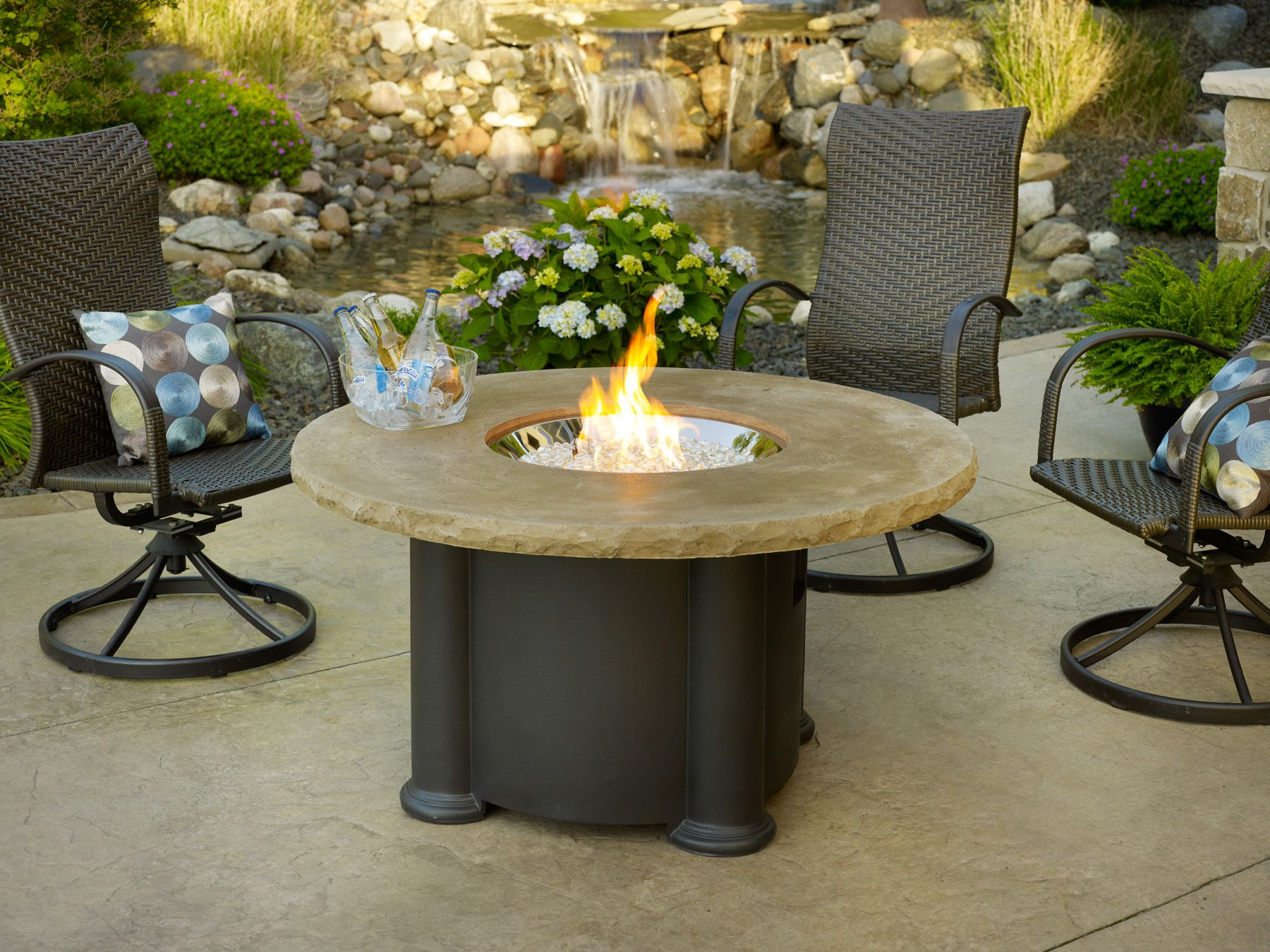 Bon Outdoor GreatRoom COLONIAL 48 M K | Colonial Round Fire Pit Table   Outdoor  Coffee Table In MOCHA | On Sale