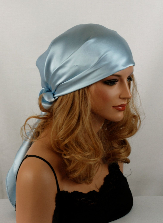 silk hair sleep scarf or day scarf sizes light blue