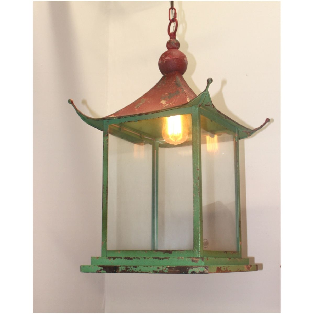 Chinese pagoda pendant chandelier light fixture old red green paint chinese pagoda pendant chandelier light fixture old red green paint asian influence arubaitofo Gallery