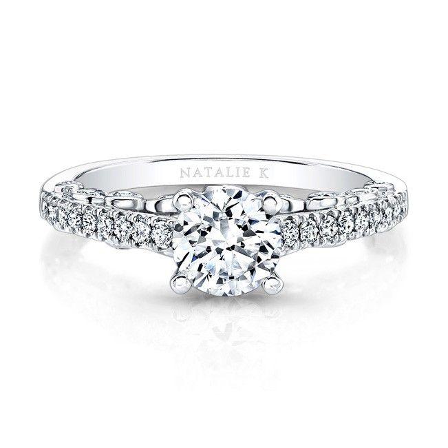 18k White Gold Bezel-Set Diamond Gallery Engagement Ring - FM27059-18W