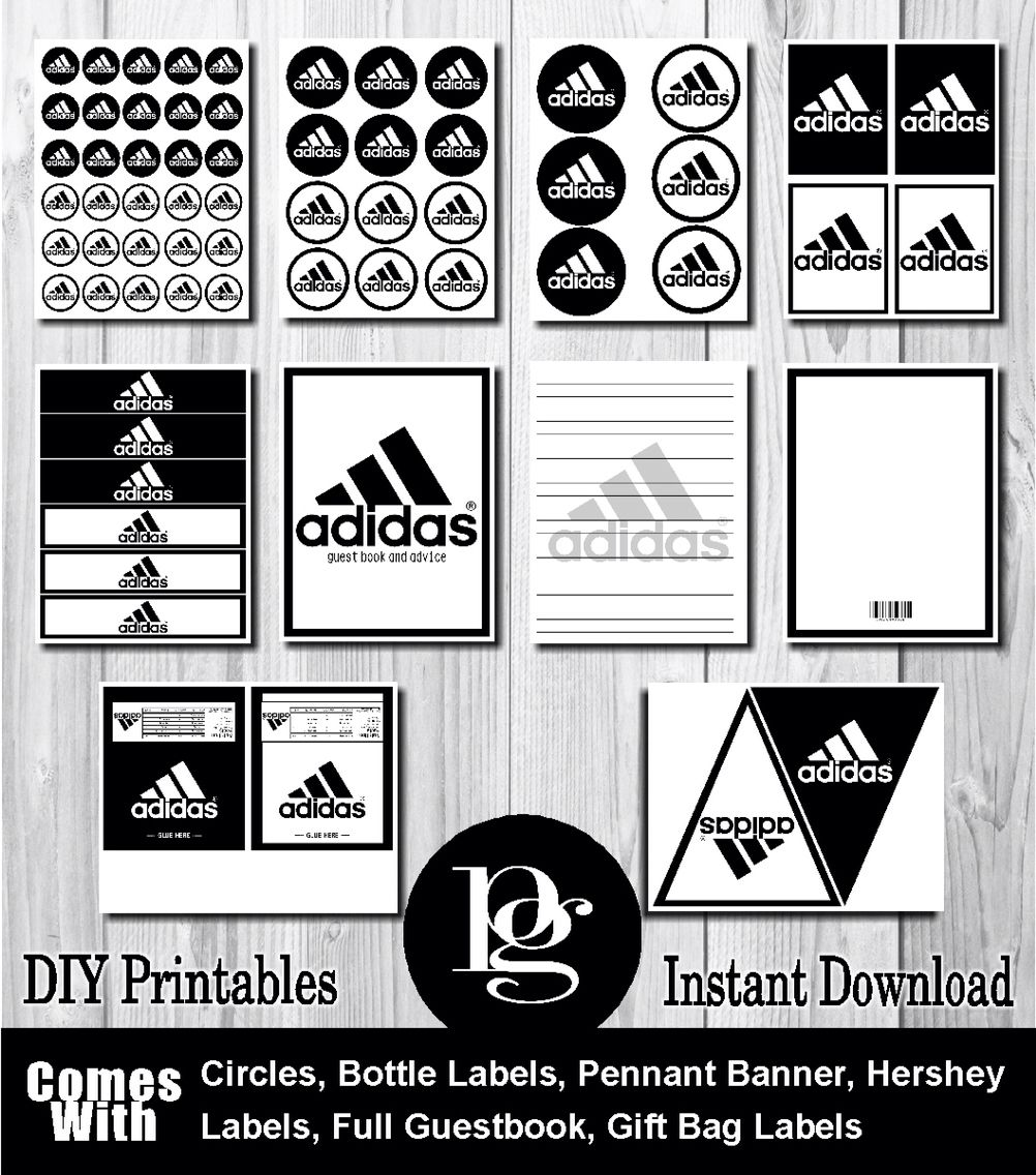 Adidas Black & White Party Favors - DIY - $14.95 - adidas party ...