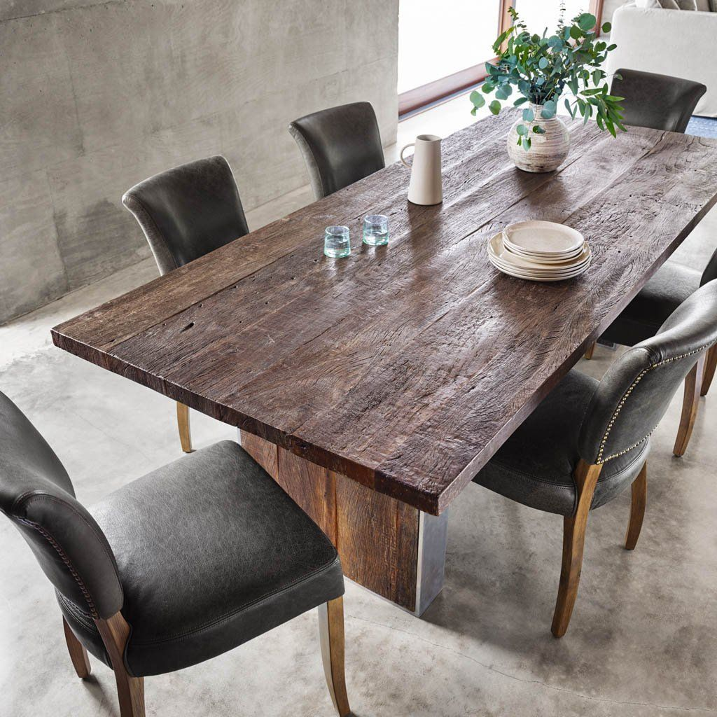 The Keith Dining Table Merges Worlds Old And New This Rustic Modern Dining Table Is Well Balanced In 2020 Modern Rustic Dining Table Dining Table Rustic Dining Table