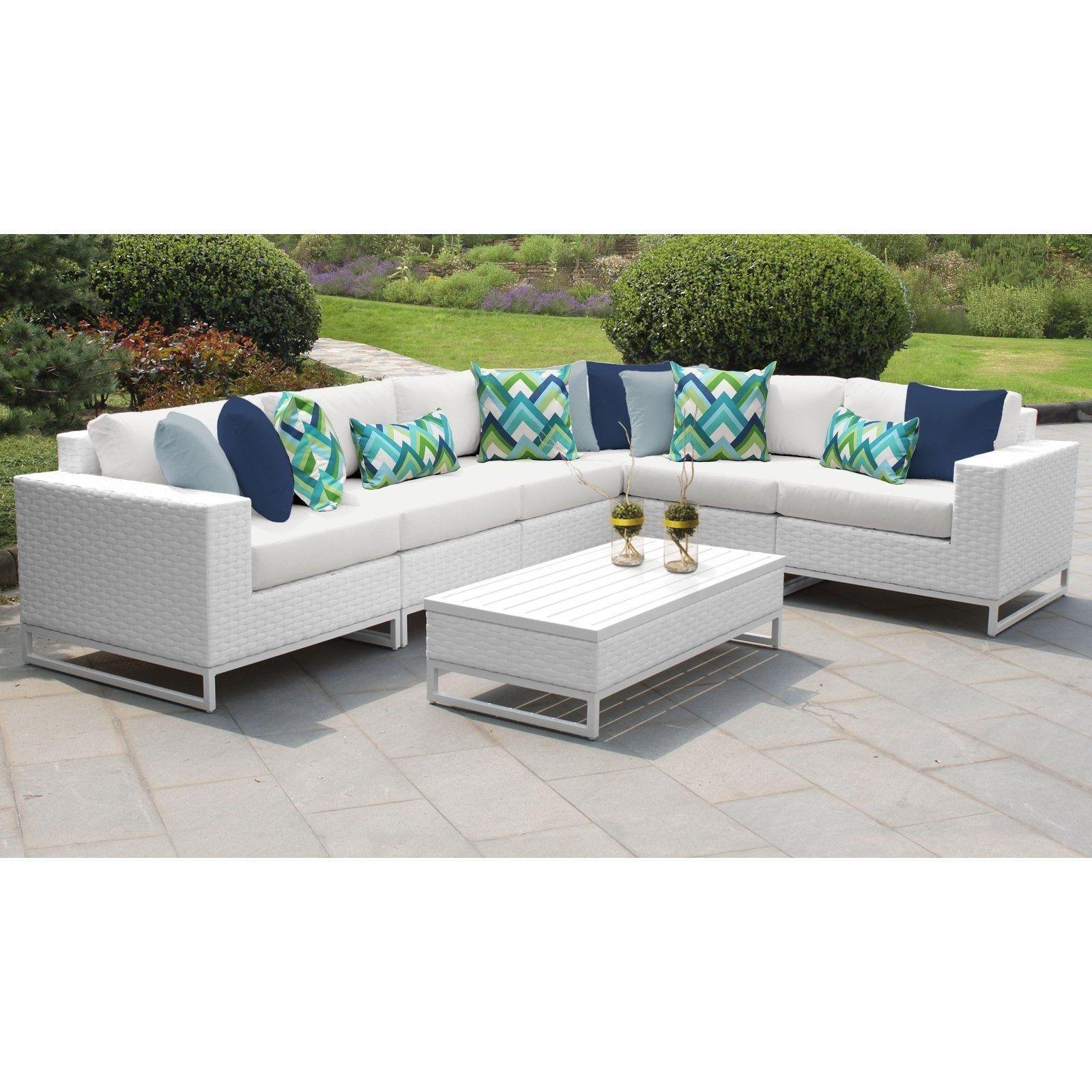 Miami 7 Piece Outdoor Wicker Patio Furniture Set 07g White Tk