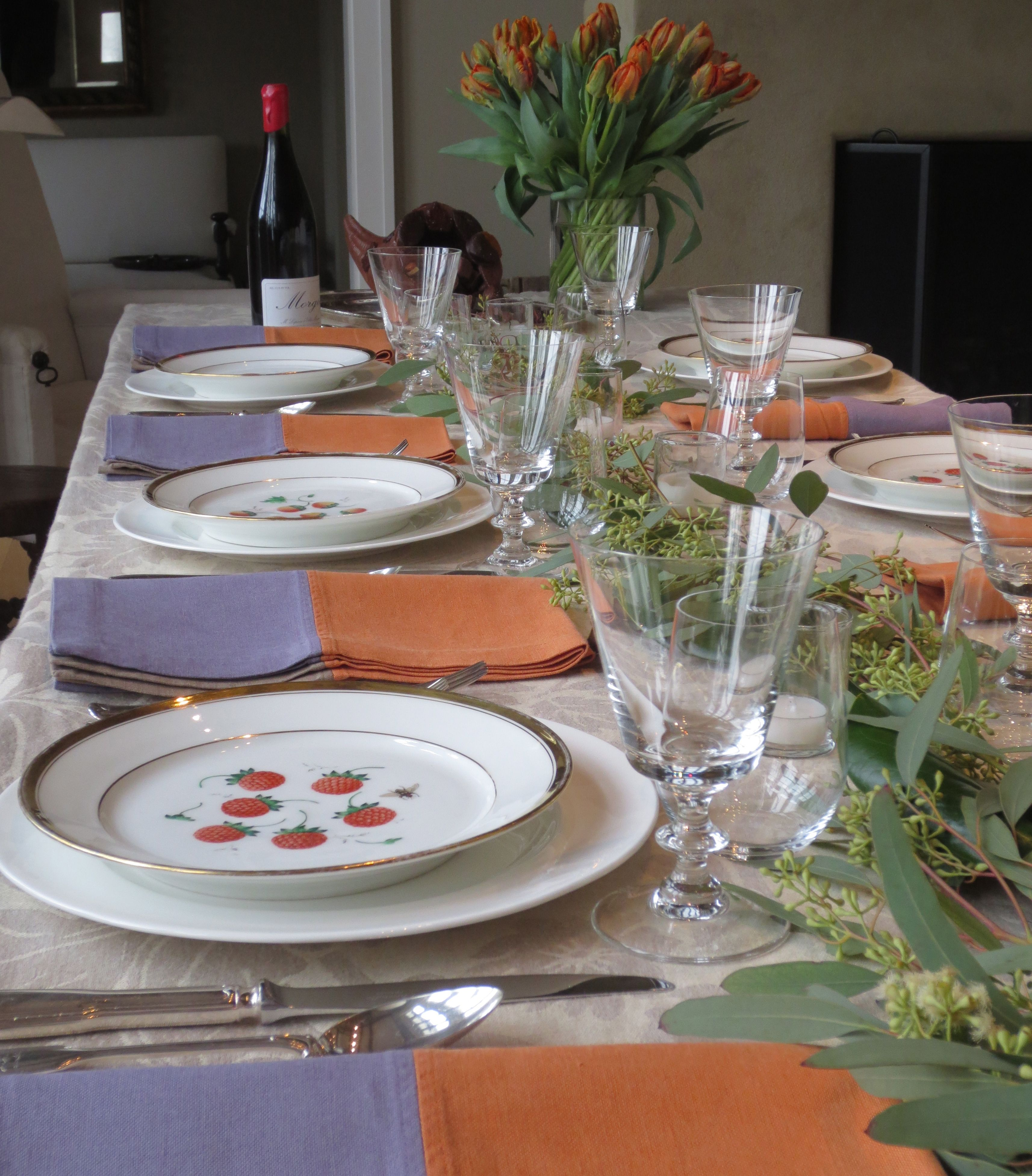 My table setting for this year\'s Thanksgiving. I lined the center of ...