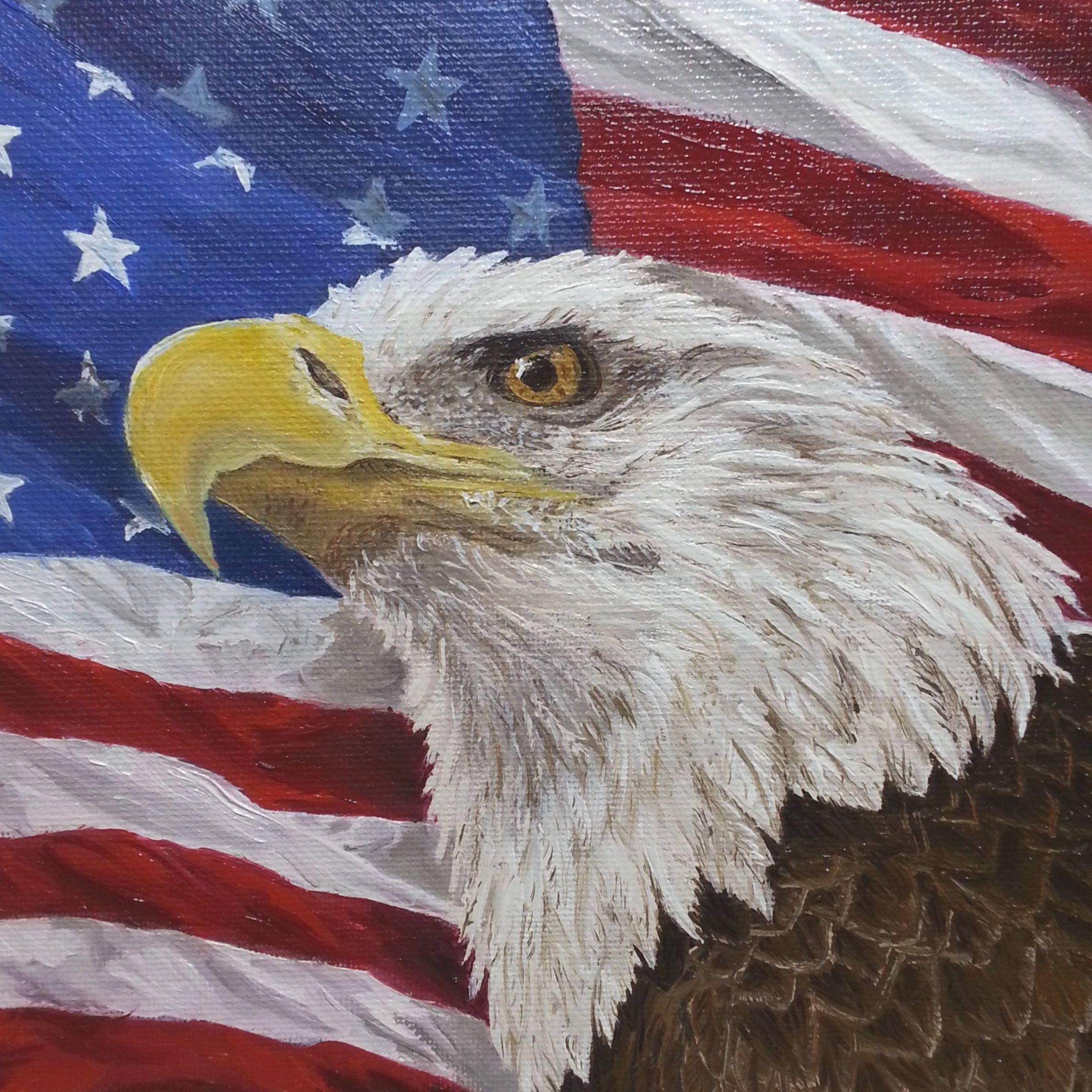 Eagle Art Eagle With American Flag Eagle Oil Painting Military Art American Flag Painting American Flag Art Eagle Painting