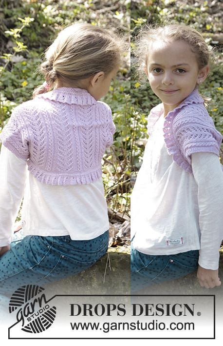 "Knitted DROPS bolero with lace pattern and rib in ""Baby Merino"" Size ..."
