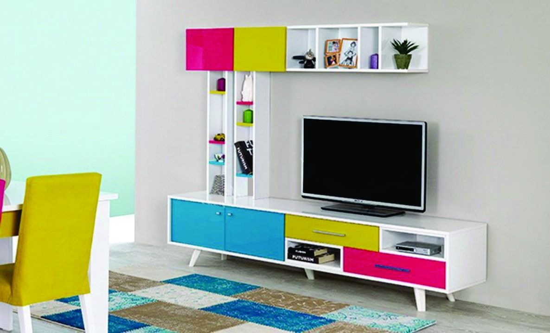 Modular mesa tv vintage moderno mega cell en - Pintura de salones modernos ...