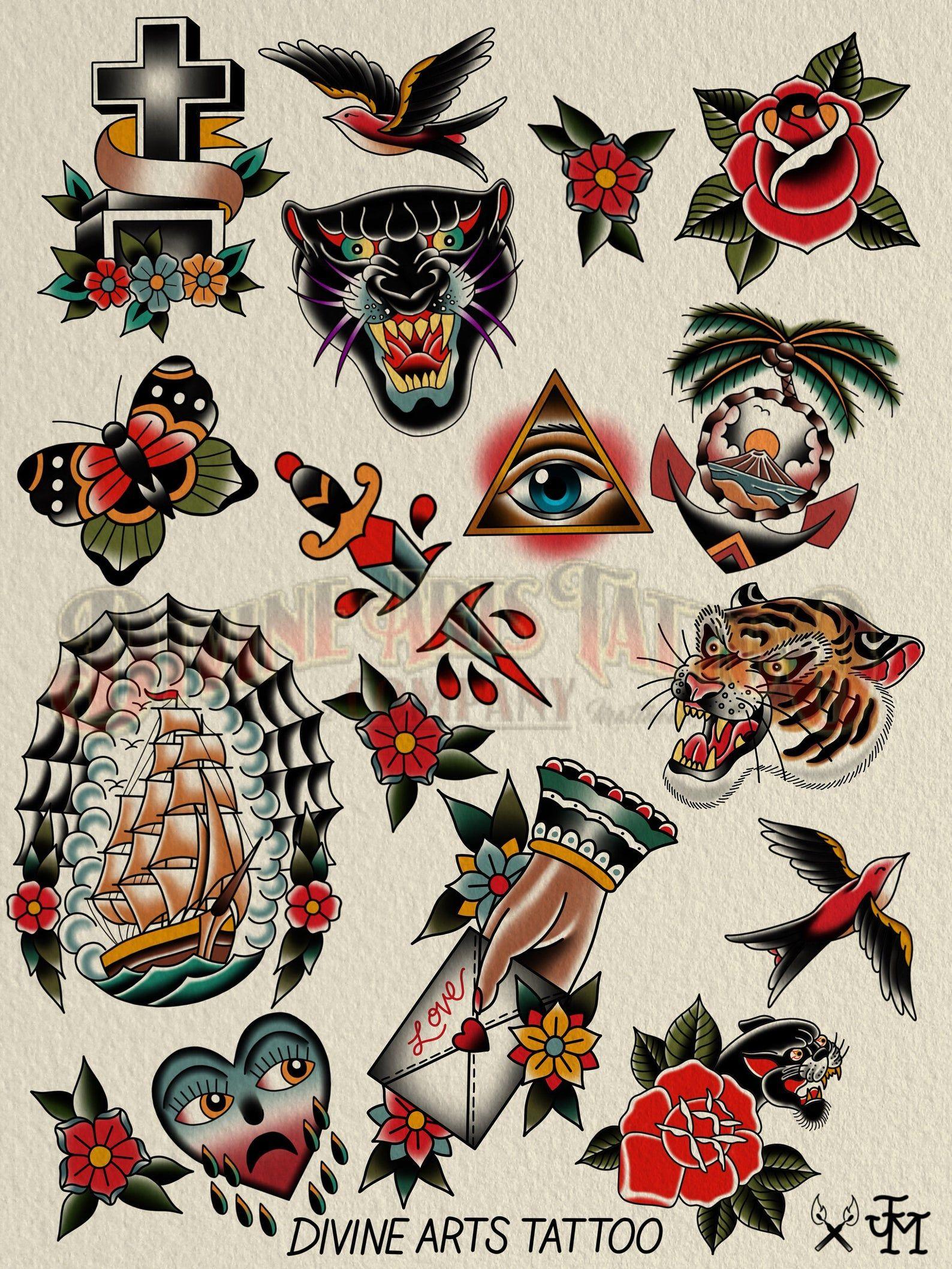 Tattoo Flash Poster In 2021 Vintage Tattoo Art Traditional Tattoo Sleeve Traditional Style Tattoo