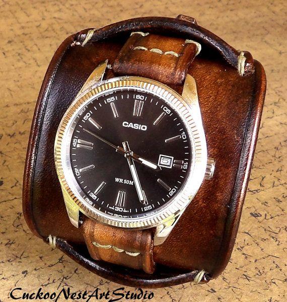Leather cuff watch cuff men 39 s leather watch vintage style wrist watch bracelet watch for Men gradient leather strap