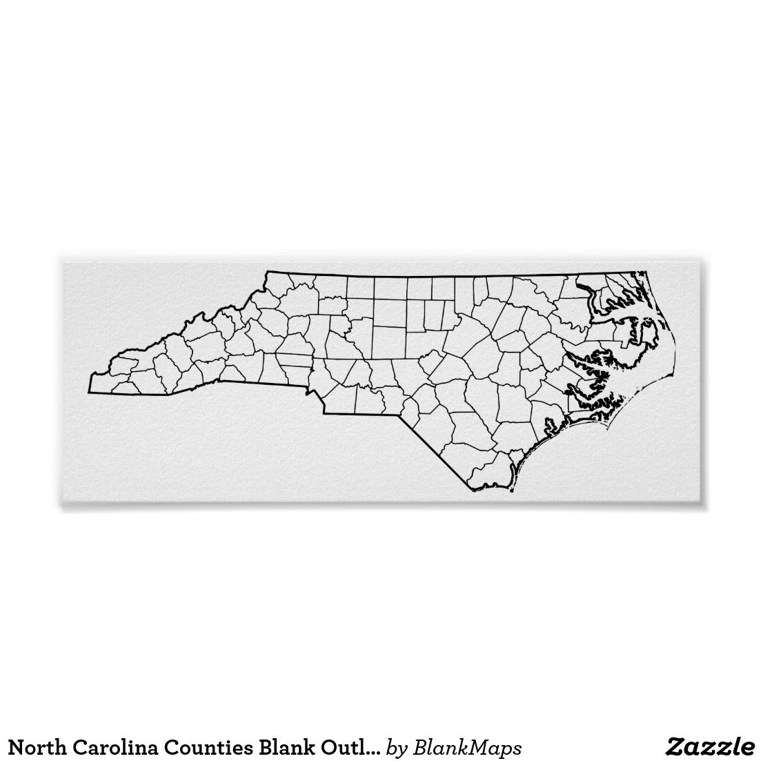 image about North Carolina County Map Printable known as North Carolina Counties Blank Determine Map Poster Zazzle
