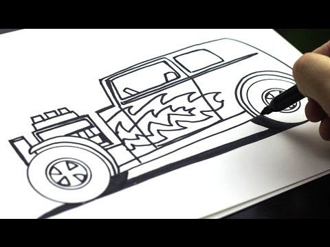 How To Draw A Hot Rod (for kids!) - YouTube   Art   Pinterest