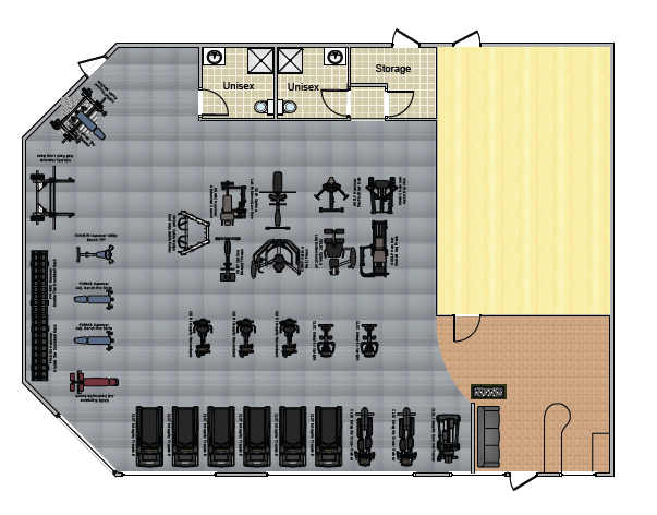 Small gym layout without machines timber