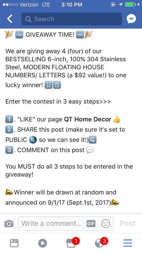Visit wwwfacebook/QTModernHomeDecor/ to enter our FREE GIVEAWAY
