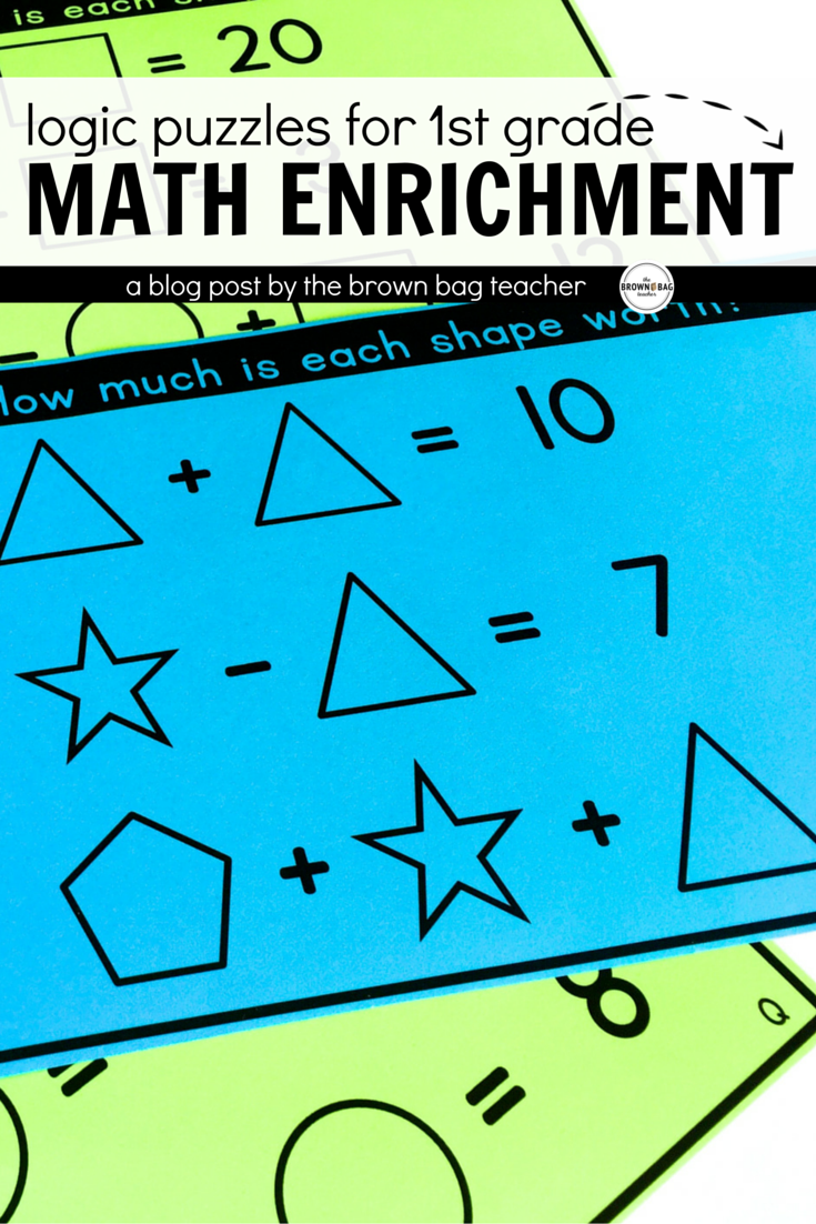 Math Logic Puzzles Set 1: 1st & 2nd Grade Math Enrichment | Math ...