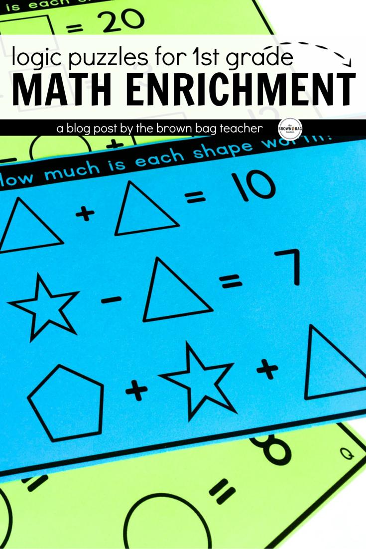 Math Brain Puzzles Set 1: 1st \u0026 2nd Grade Enrichment   Math enrichment [ 1102 x 735 Pixel ]