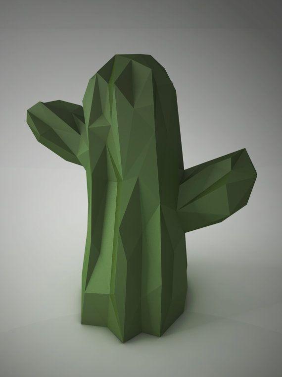 diy paper sculptures cactus shape template 3d design pinterest
